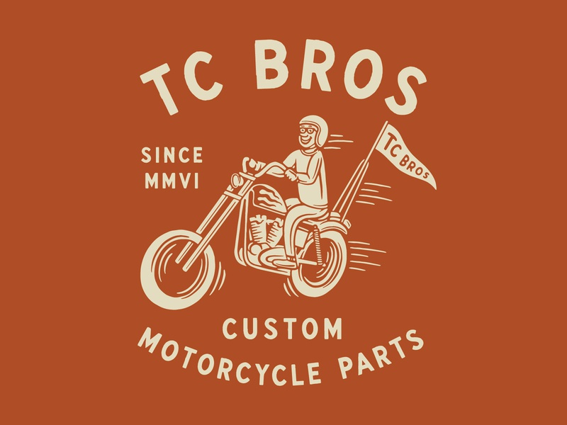 TC Bros. Rider chopper vintage traditional hand drawn hand lettering branding lettering type handmade drawing graphic design design illustration