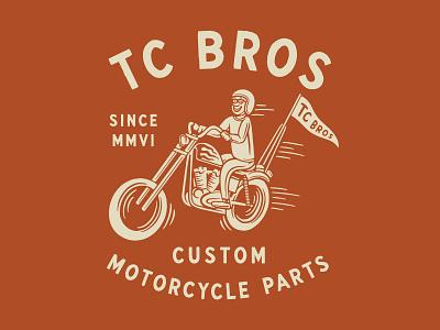 TC Bros. Rider chopper vintage traditional hand drawn hand lettering branding lettering type handmade drawing graphic design design illustration