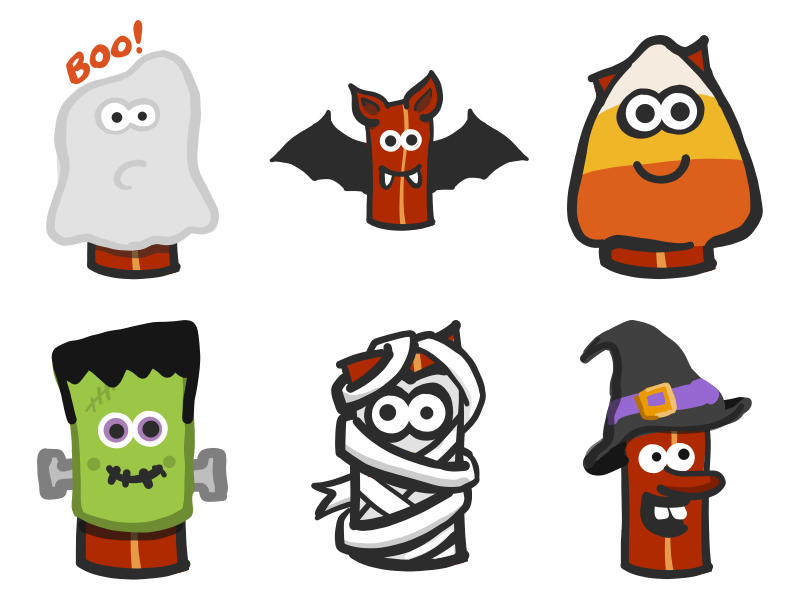 Halloween Bacon Stickers ios10 cute sketch kawaii emoji imessage stickers ghost bat candy corn witch mummy halloween