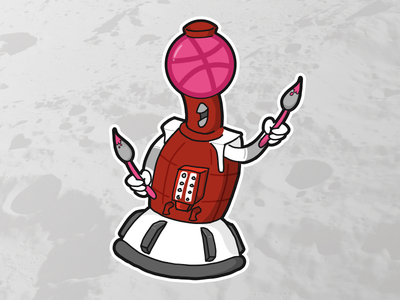 Mystery Dribbble Theater 3000: Tom Servo the Artist dribbble playoffs sticker mst3k robots mystery science theater