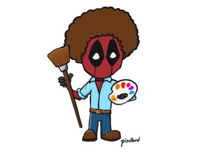 Deadpool Bob Ross ipad pro illustration bob ross deadpool2 deadpool