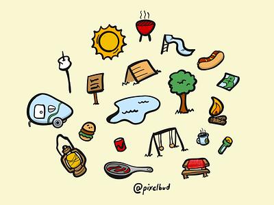 Camping Pattern cartoons illustration doodle summer camping patterns
