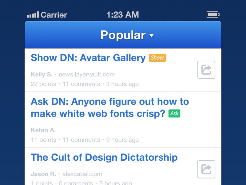 DN iPhone App dn designer news batch icons iphone ios app sketchapp sketch layervault