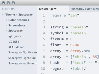 Spacegray Light spacegray sublime text theme code
