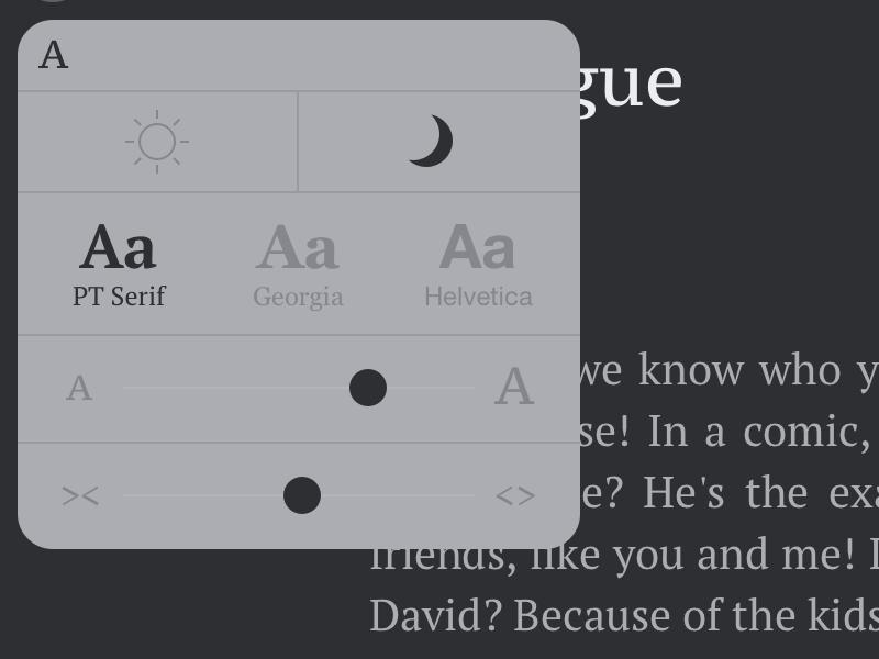 Settings reader font settings