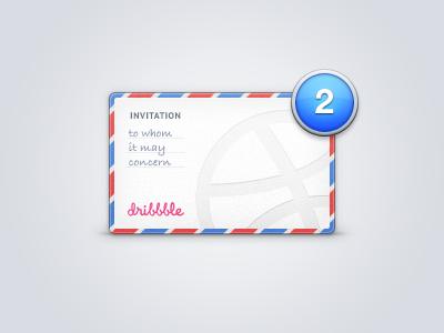 Two dribbble invites dribbble invite envelope invitation badge bubble alert bdc benjamin de cock