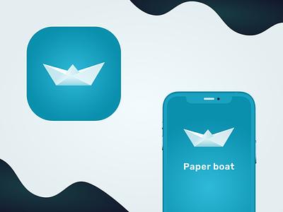 Paper Boat Logo ocean logo paper boat logo sail logo ocean sailing boat paper boat paper art paper blue flat logo vector web graphic design mobile app illustration app minimal design