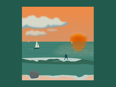 Surf & Sailing vector art drawing throwback landscape artwork art ocean sail surface design surf illustrator web flat vector branding graphic design icon app illustration design