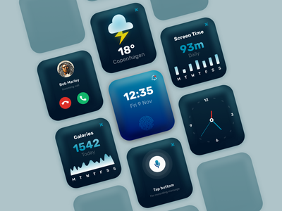 Smart Watch Interface clock watch smartwatch apple watch soft ui 3d blue illustrator ios vector graphic design web branding icon ux ui illustration app design minimal