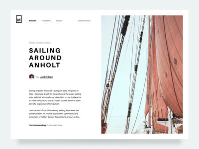 Article Preview ocean lettering newsfeed medium article medium sailing news article preview article page article website typography flat graphic design branding icon ux ui minimal design