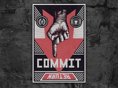 Dev Propaganda Poster office art russian procreate app developer propaganda 14four commit constructivism poster