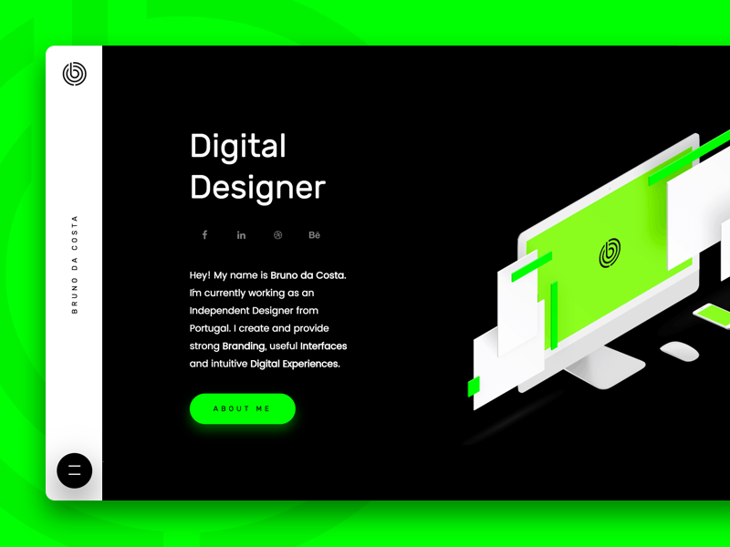 Personal Website home page green webdesign web ux ui portfolio personal minimalistic minimal design branding