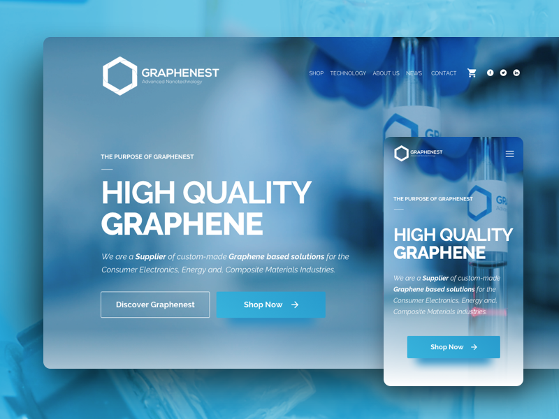 Graphenest website web ux ui responsive product layout home clean card store landing