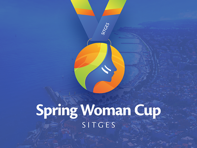 Spring Woman Cup gradient color cup blue woman spring soccer football vector logo identity branding