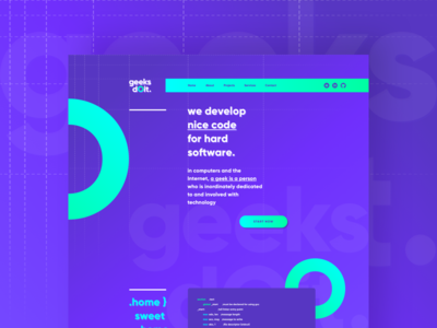 Geeks Doit Concept experimental personal webdesign web ux ui page home purple design branding