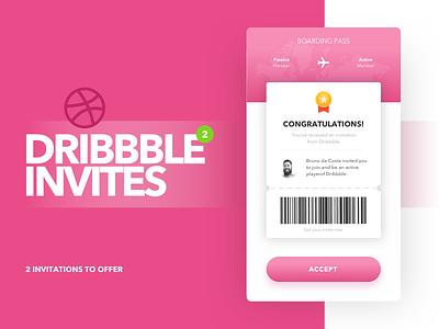 2x Dribbble Invites mobile ticket invite invitation giveaway dribbble draft