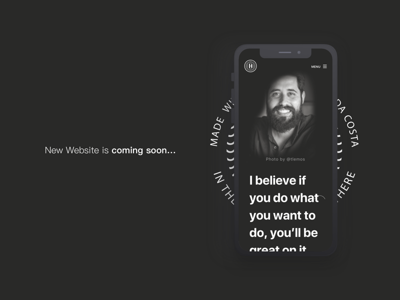New Website Coming Soon black and white about page personal page ux ui personal website portfolio