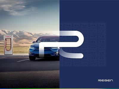 Regen Branding webdesign app clean typography vector blue portfolio logo design branding web ux ui