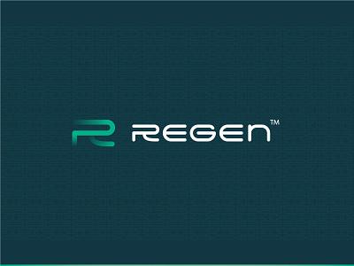 Logo for Regen™ icon r letter r logo startup blue green graphic design design branding logo vector typography