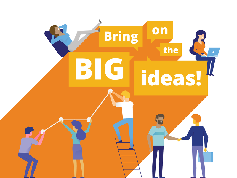 bring on the big ideas typography branding character digital vector design illustration