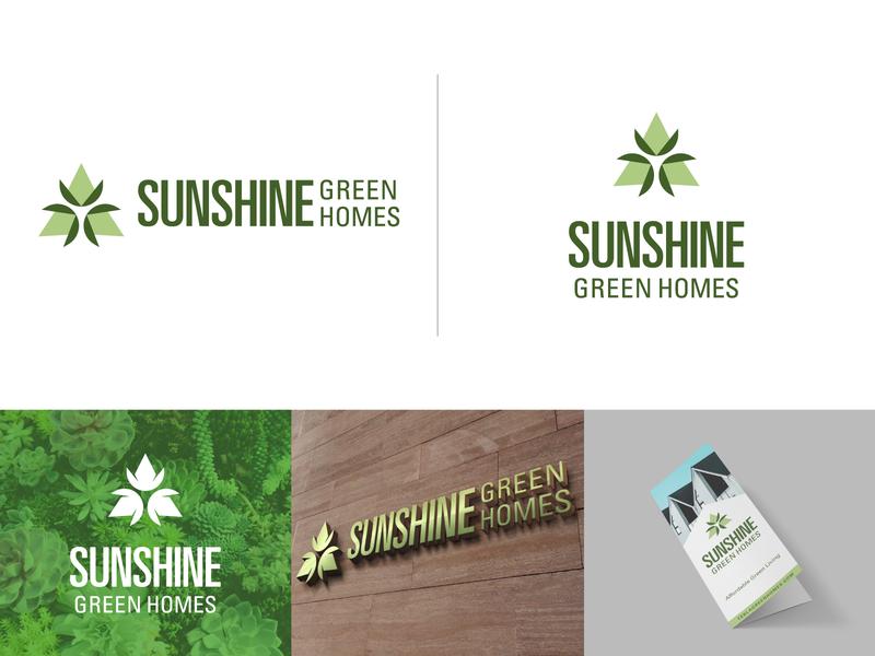 Sunshine Green Homes Identity community plant realestate green homes branding identity logo design