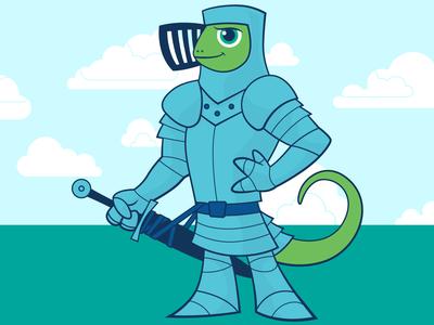 Chameleon Knight character cartoon digital vector illustration