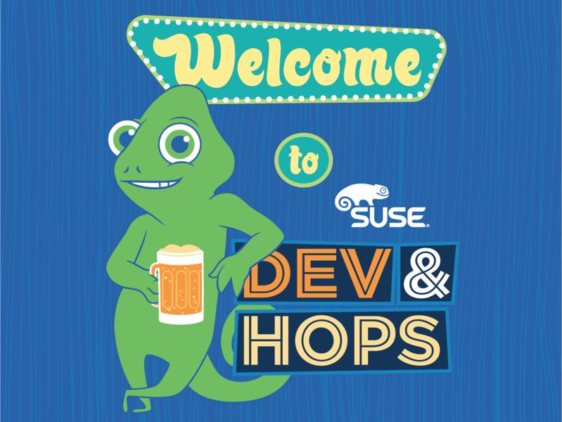 Dev & Hops Event Promo chameleon logo branding character cartoon digital vector design illustration