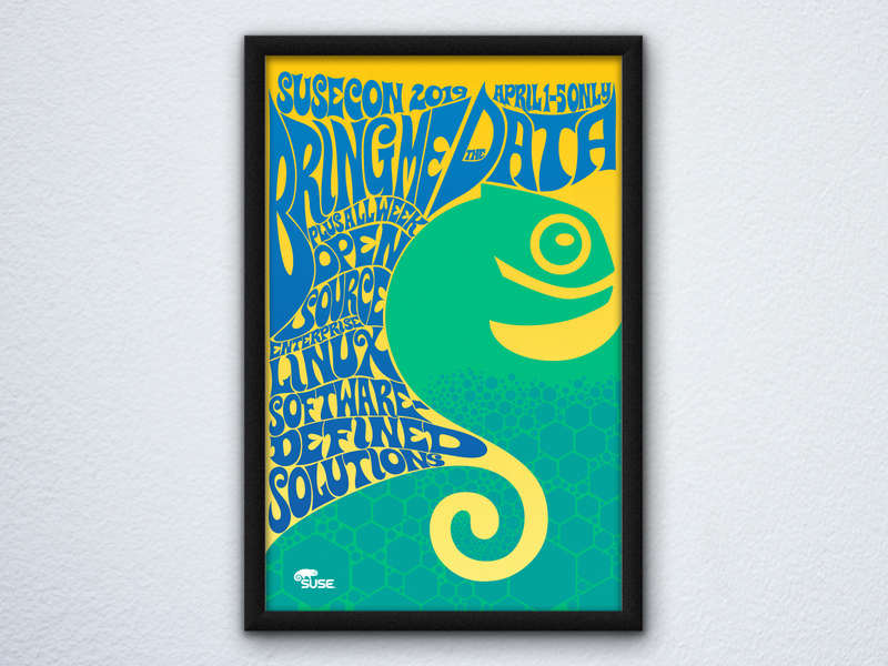 SUSECON 2019 Poster: Bring Me the Data poster art psychedelic typography poster illustration vector design