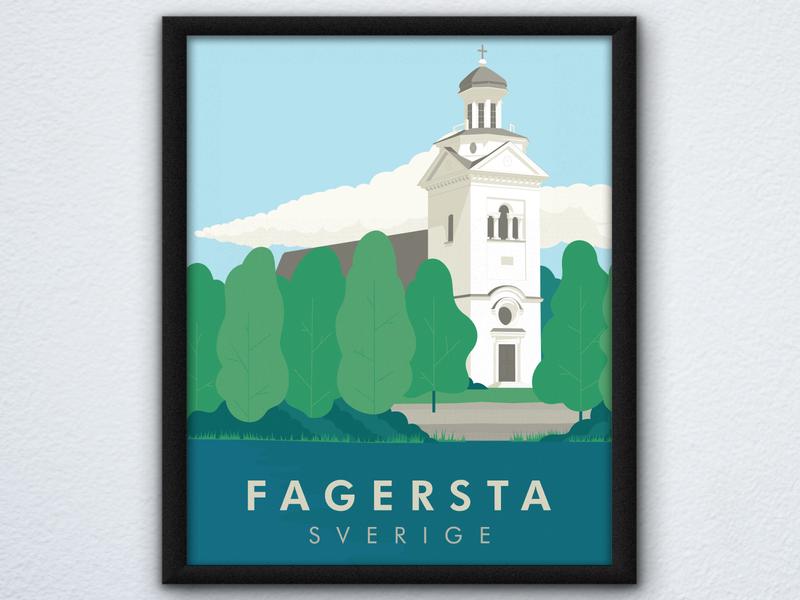 """Travel Poster """"Fagersta"""" design vector illustration poster art sweden travel illustrator"""