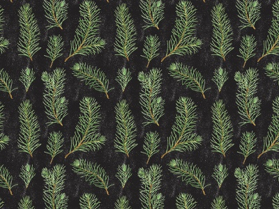 Watercolor pine branches seamless pattern repeated wrapping paper textile holiday winter black background pine tree fir pine botanical pattern pattern fall autumn watercolor leaves botany illustration botanical