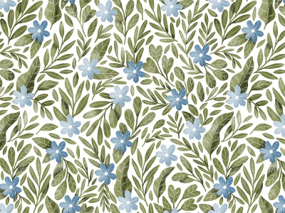 Blue flowers and dark green leaves seamless pattern green leaves cute wallpaper textile floral blue flowers background seamless pattern leaves botany illustration botanical