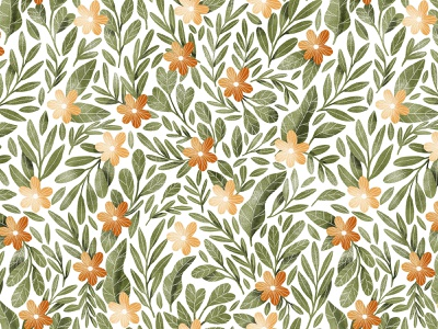Orange flowers and dark green leaves seamless pattern botanical illustration botany leaves pattern seamless background orange flowers floral textile wallpaper cute green leaves