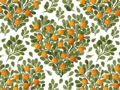 Oranges and green leaves in shape of heart cute love heart oranges eucalyptus berries watercolor pattern leaves botany illustration botanical