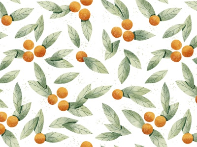 Oranges seamless pattern drawing pencil textile wallpaper fruit citrus tangerine oranges cute seamless watercolor pattern leaves botany illustration botanical