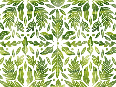 Green watercolor leaves symmetric pattern fabrics textile wallpaper background repeaded nature green symmetrical symmetric symmetry seamless pattern botany leaves illustration botanical watercolor