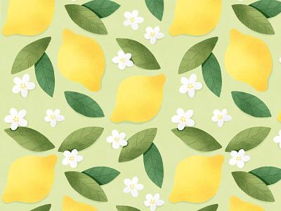 Lemons and white flowers seamless pattern drinks menu cute branding leaves fruit lemons illustration floral pattern textile design package design wallpaper lemons pattern illustration botanical