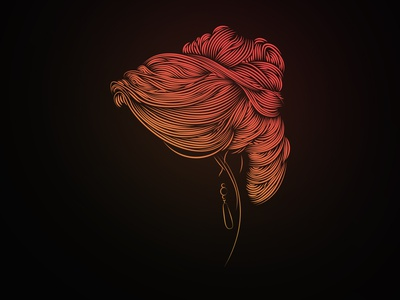 Bridal Hair vector glowing glow femenine style lines hair portait design illustration