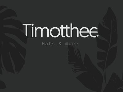 Timothee Logo leaves typeface hats shop lettering flat illustration minimal typography vector identity logo 2d design branding brand logo