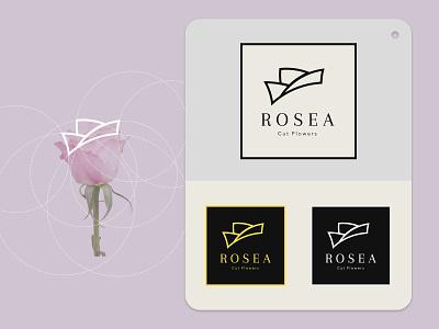 Rosea flowers geometic vector flower femenine shop florist flat typography minimal logo illustration brand branding identity