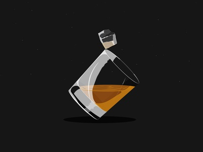 Whiskey Night classy glass desgin stars night smooth orange whiskey flat minimal illustration vector