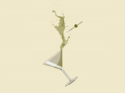 Martini Fight glass elegant fight liquid martini olives branding brand design minimal illustration vector