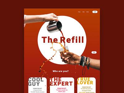 The Refill cafe barista coffee illustration vector type website web ui ux typography glass shop logo flat identity branding brand design minimal