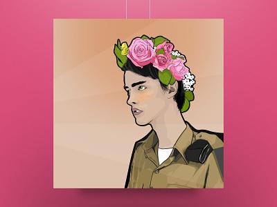 Flower Soldier uniform light headdress roses branding design illustration vector soldier flowers