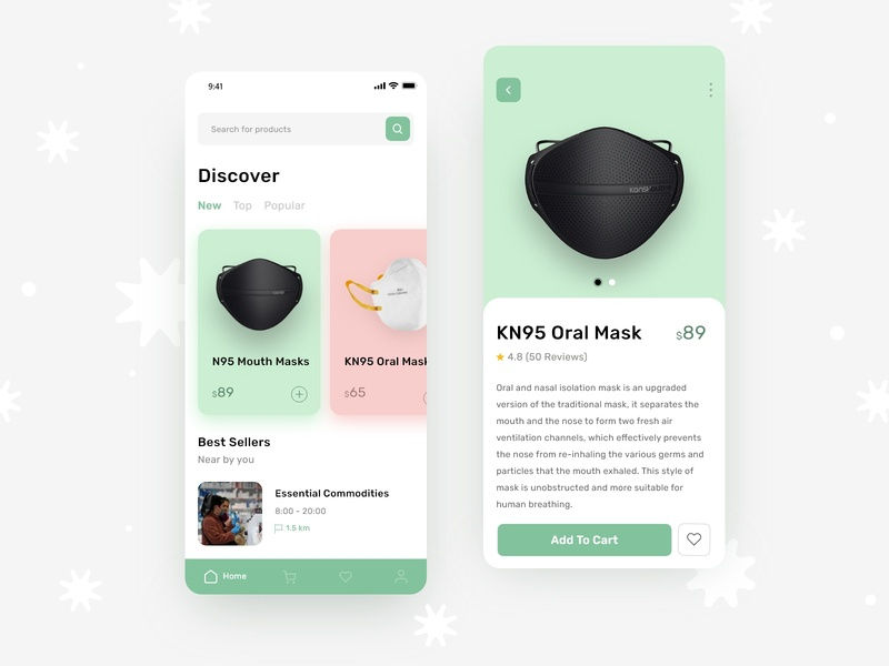 KN95 Oral Mask For COVID-19 cocept ecommerce products mask corona app mobile iphonex covid-19 iphone trend gradient template xd app ux psd ui