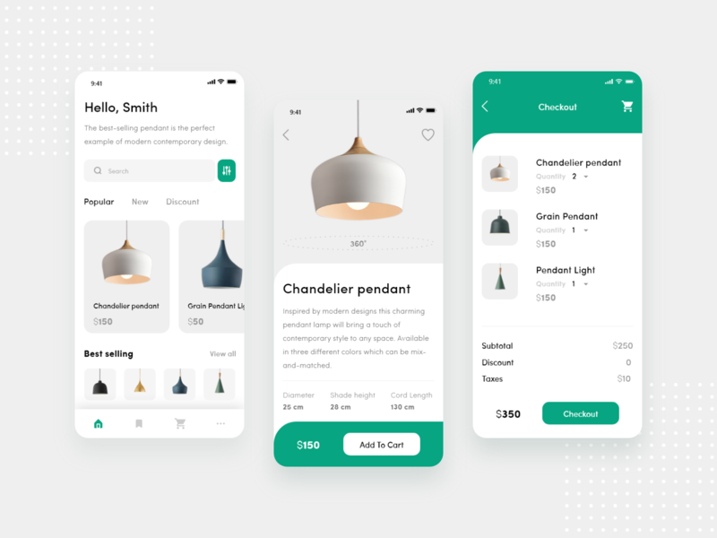 Pendant Light e-Commerce App singleproduct checkout ecommerce lamps product shop store iphonex mobile clean simple uiconcept wirefram concept uidesign free psd xd ux ui