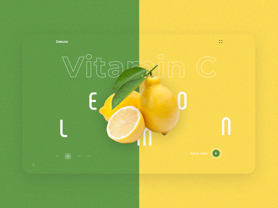 Immune User Interface fruits video heroimage homepage landingpage interaction userexperience userinterface uidesign uiconcept webdesign layout immune vitamin c lemon xd psd ux ui
