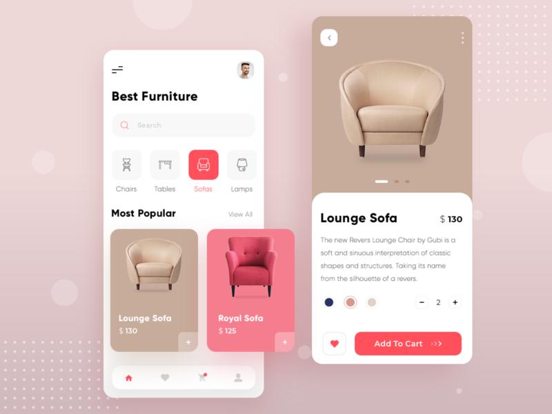 Furniture Mobile App app design ecommerce design furniture sofa mobile app trendy iphonex ios android minimal clean simple userexperience uiux mobile ui mobile app