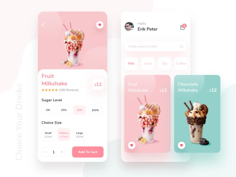 Drinks Shop App beverages tea milkshake ios android onlineshop drinks mobile wireframe ux ui typography product modern minimal light gradient clean design app