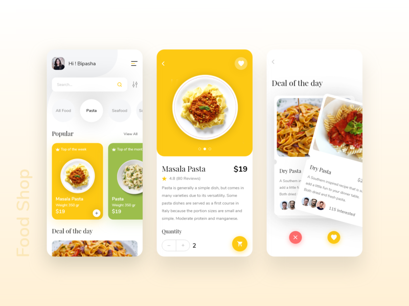 Food Shop Mobile App app design deal foodie application psd uxdesign cart pasta simple new uikit card trendy food illustration food and drink uiux mobile ui food app mobile food