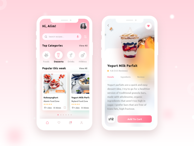Food Recipe Mobile App 🍦🍨🥧 xd uxdesign prototype wireframe typography warmcolor simple new smoothe research uiux mobile ui mobile treny fooddelivery deliveryfood order menu desserts food